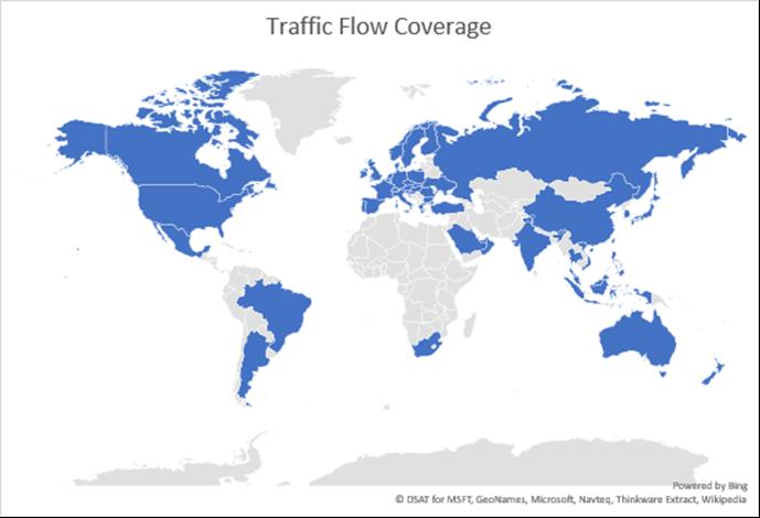 Bing amplia a 55 países su cobertura de información de tráfico en tiempo real