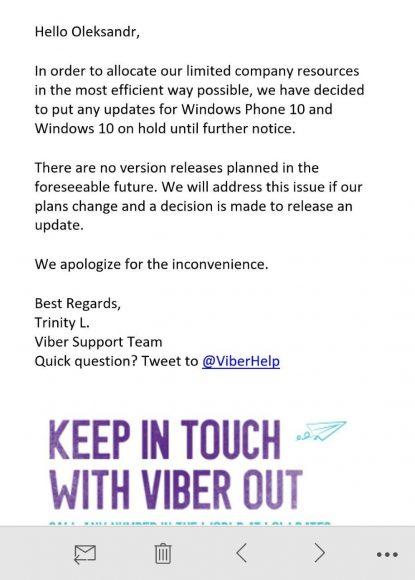 Viber pausa el desarrollo de su aplicación para Windows 10 hasta nuevo aviso
