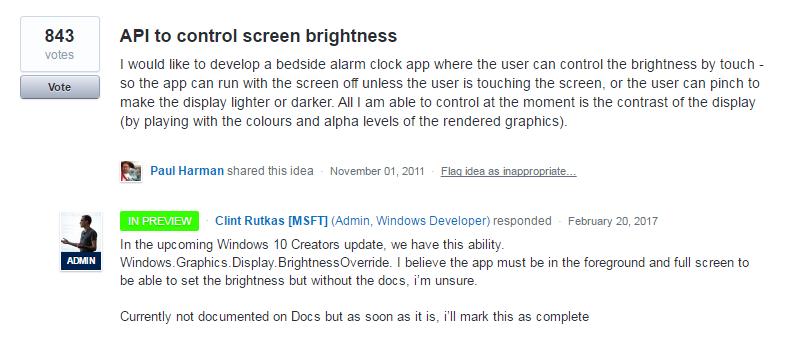 Las aplicaciones podrán administrar el nivel de brillo de tu dispositivo con Windows 10