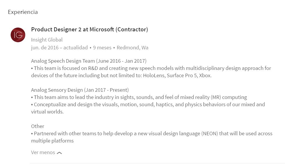 Referencia a la Surface Pro 5 aparece en LinkedIn
