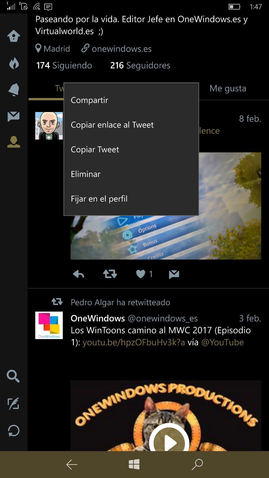 """Twitter para Windows 10 se actualiza y añade la función de """"Pestañas"""" [Actualizado]"""