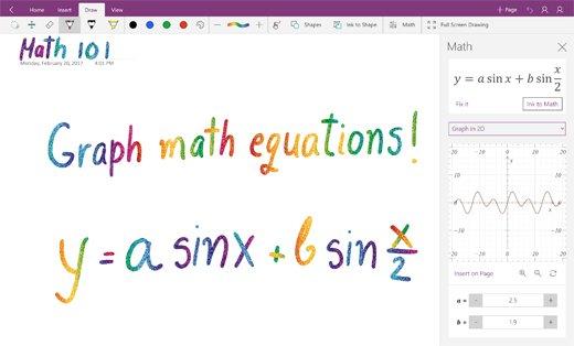 Las gráficas de ecuaciones matemáticas ya disponibles en OneNote