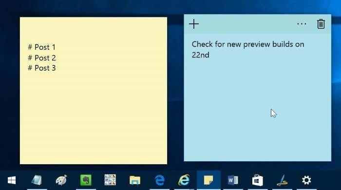 Más novedades para Sticky Notes de Windows 10 en el anillo lento