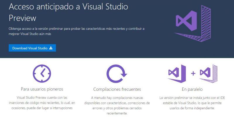 Microsoft anuncia Visual Studio Preview, otro programa más para Insiders desarrolladores