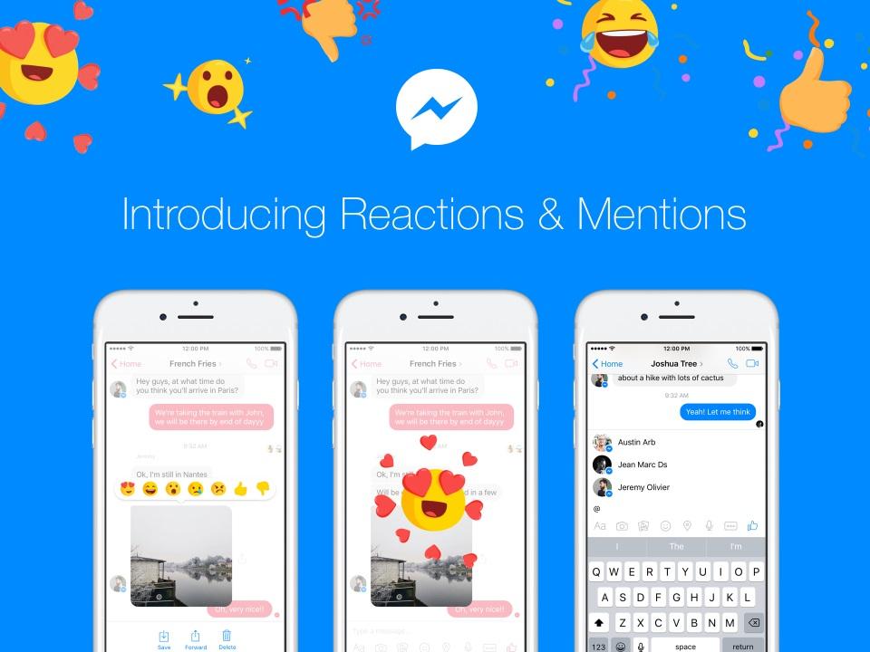 menciones reacciones messenger