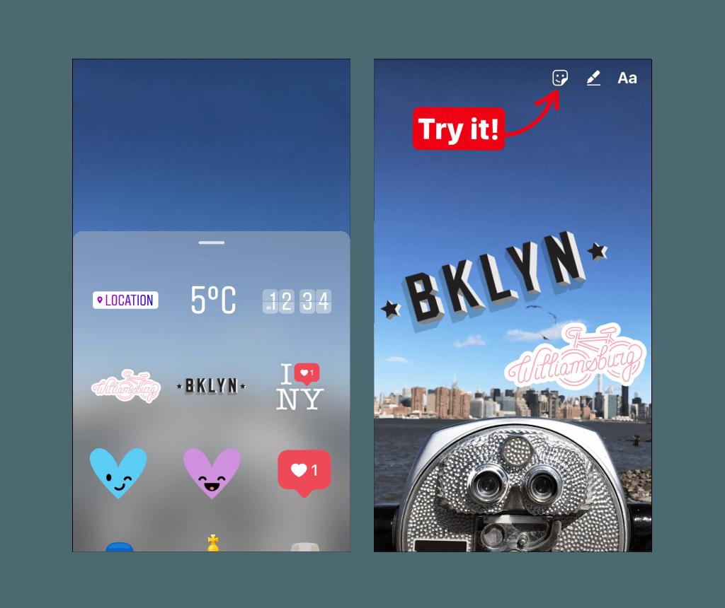 Las geopegatinas llegan a las historias de Instagram para Nueva York y Yakarta