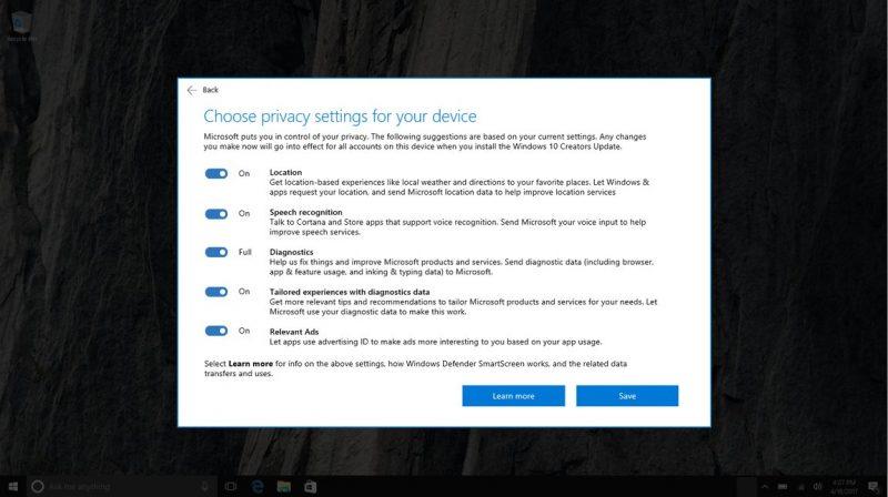 Windows 10 Creators Update ofrece más control sobre las actualizaciones y la privacidad