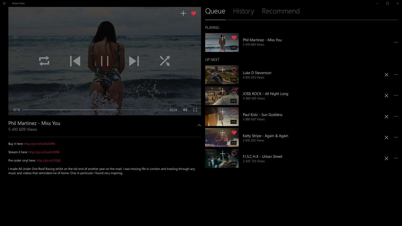 Stream Beta: free music player for YouTube ya está disponible para Windows 10