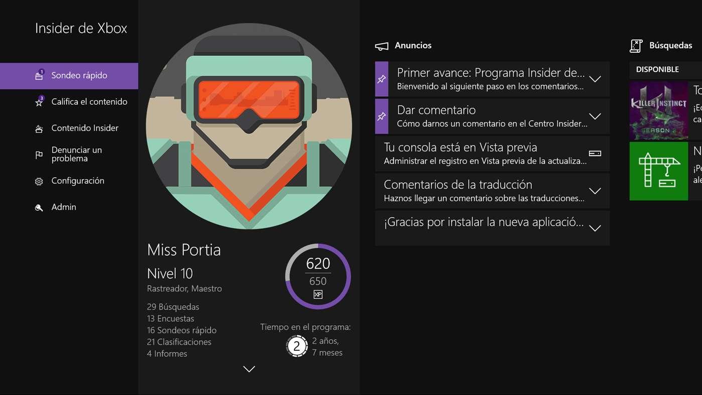 Centro Insider de Xbox, la aplicación para Windows 10 está en camino