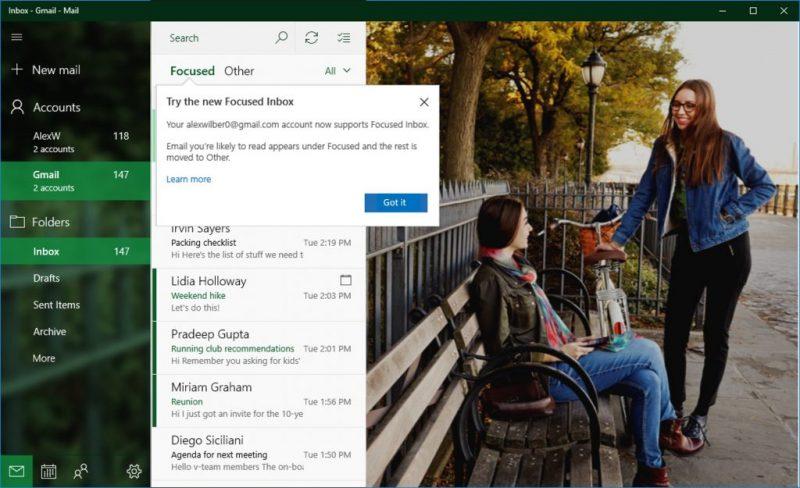 Microsoft anuncia novedades para la gestión de cuentas Gmail en Correo y Calendario de Windows 10