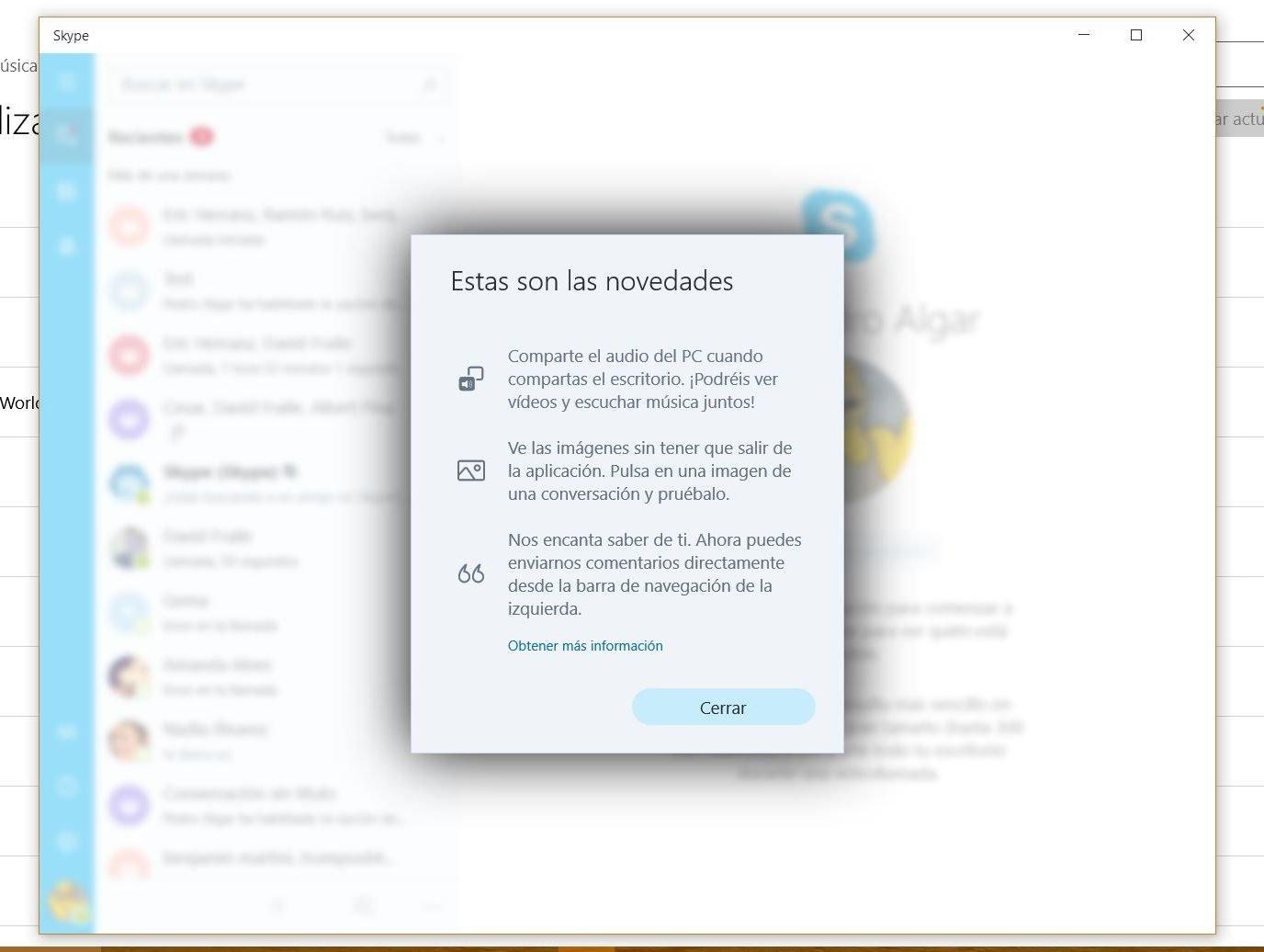 Skype se actualiza en el anillo rápido y ya permite compartir el audio del PC