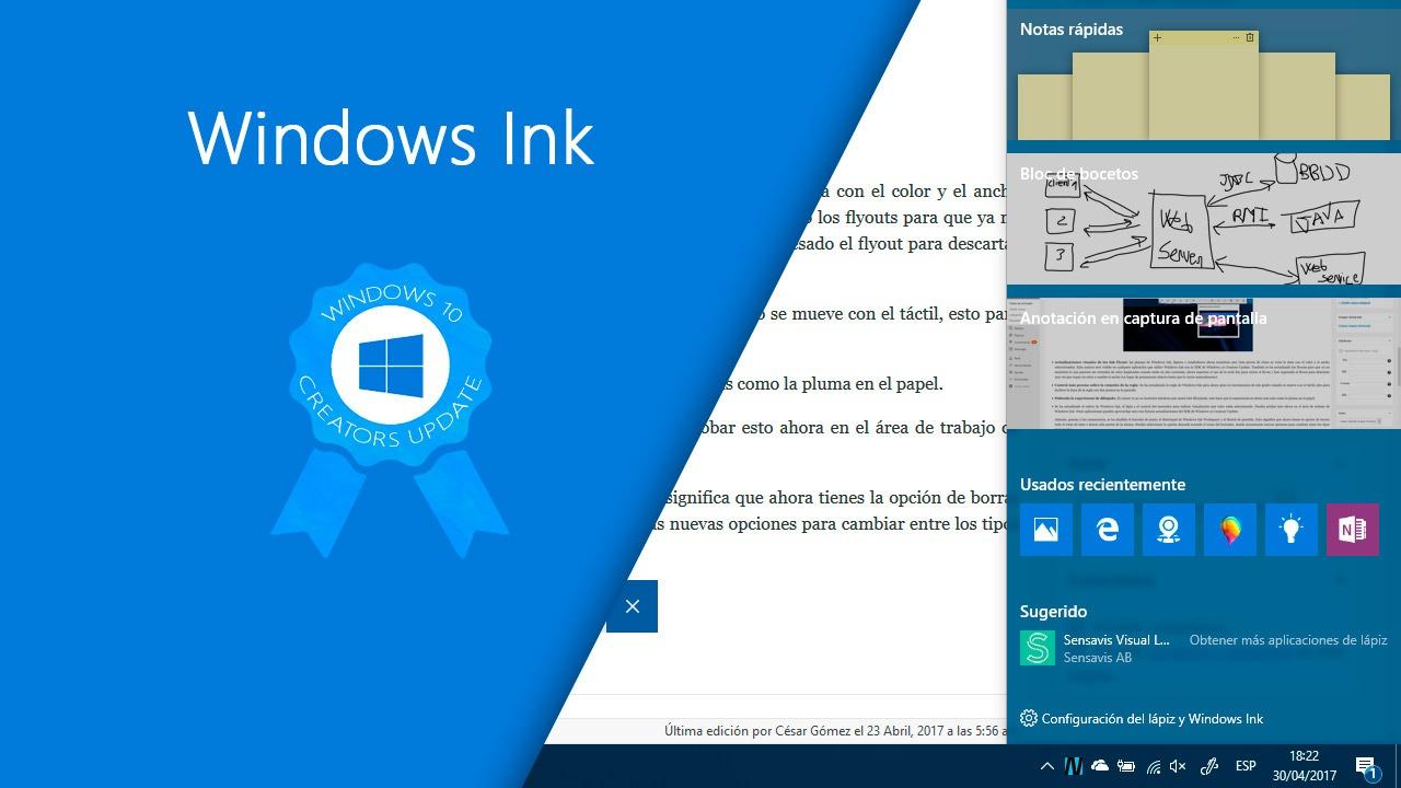 Todas las novedades de Windows Ink en la Creators Update de Windows 10