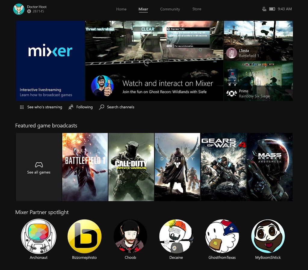 mixer xbox one