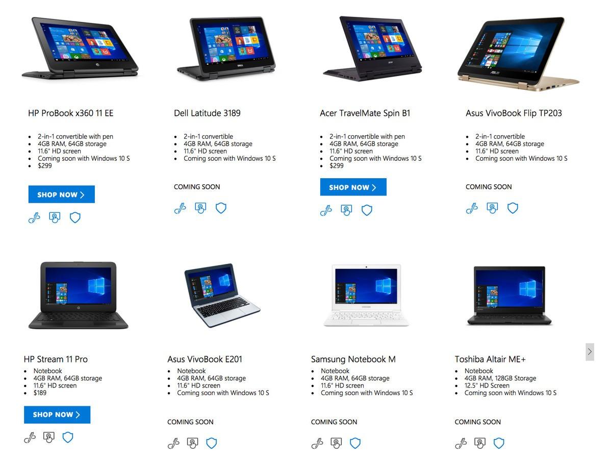 dispositivos con Windows 10 S