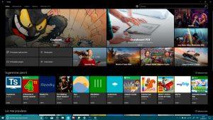 Tienda de Windows™ diez con principales detalles de Fluent Design con el tema oscuro