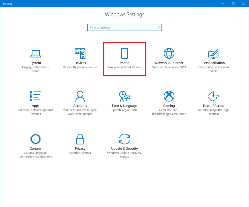 Windows 10 Enlace telefono pc