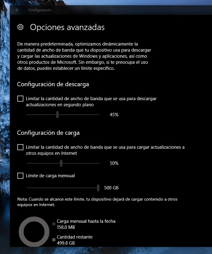 ancho banda windows 10