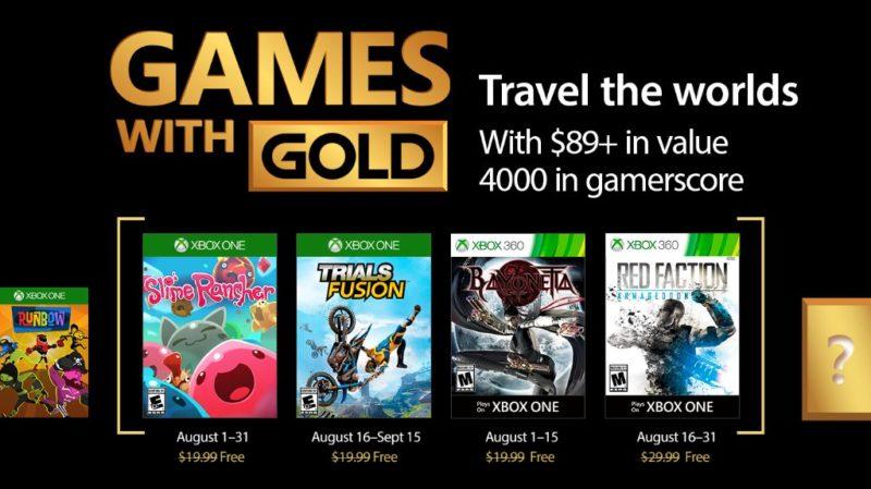 Estos son los Games With Gold de Agosto para Xbox One y Xbox 360