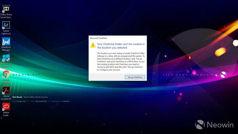 OneDrive recomienda almacenar los archivos en unidades con formato NTFS