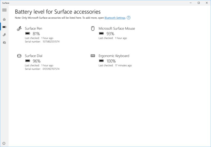 La App Surface se actualiza con medición de batería para sus accesorios