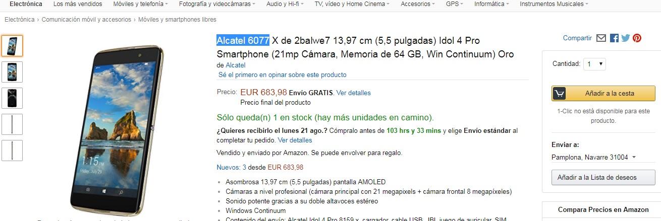 Amazon ofrece el Alcatel Idol 4 Pro en España, pero el precio no te va a gustar