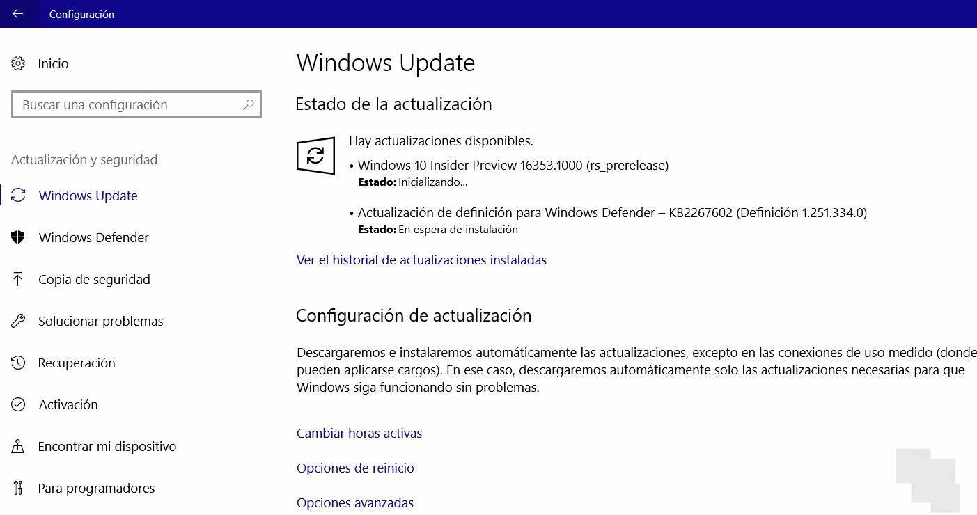 Build 16353 disponible para Windows 10 PC en Skip Ahead del anillo rápido (Redstone 4)