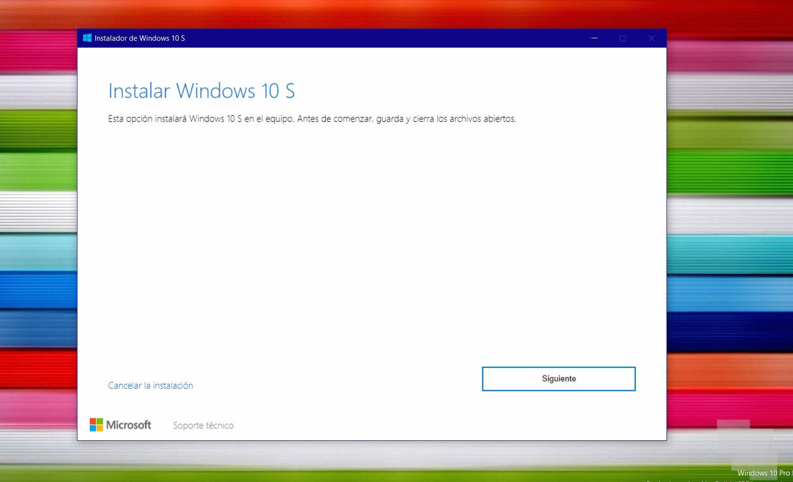 instalar windows 10 s