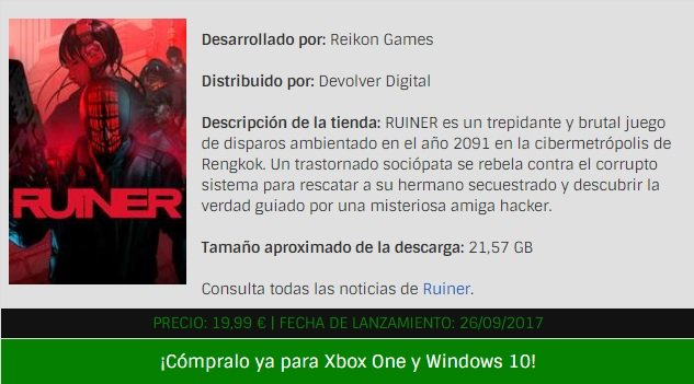 Ruiner ya disponible en la tienda de Microsoft como juego Xbox Play Anywhere