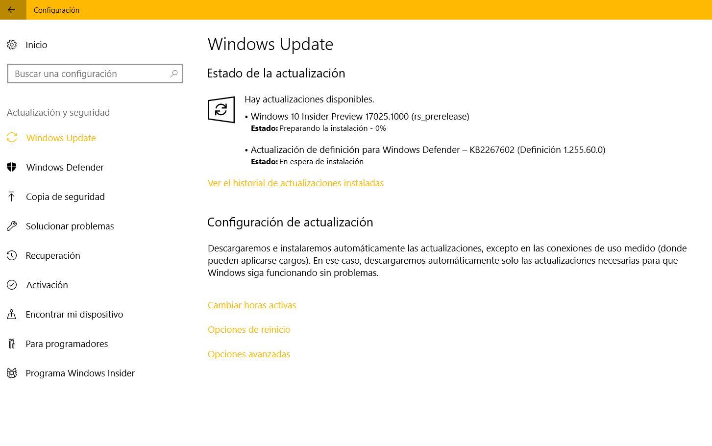 Llega la Build 17025 para Windows 10 PC en el anillo rápido y Skip Ahead