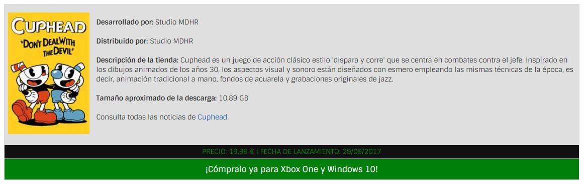 Caja de ejemplo de un juego Xbox Play Anywhere