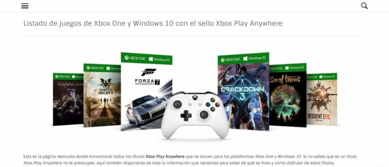 Página dedicada con el listado de juegos Xbox Play Anywhere