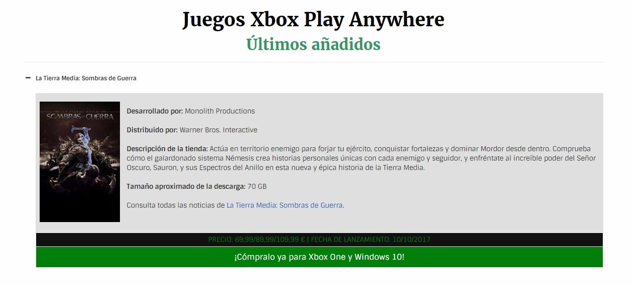 Últimos juegos añadido como Xbox Play Anywhere