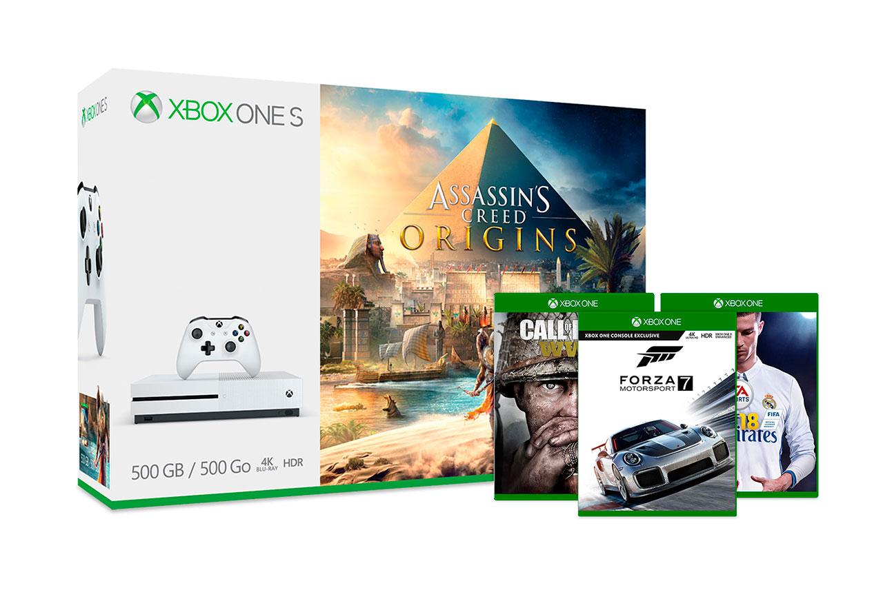 Xbox One S con Assassin's Creed Origins y otro juego triple A por 229 €