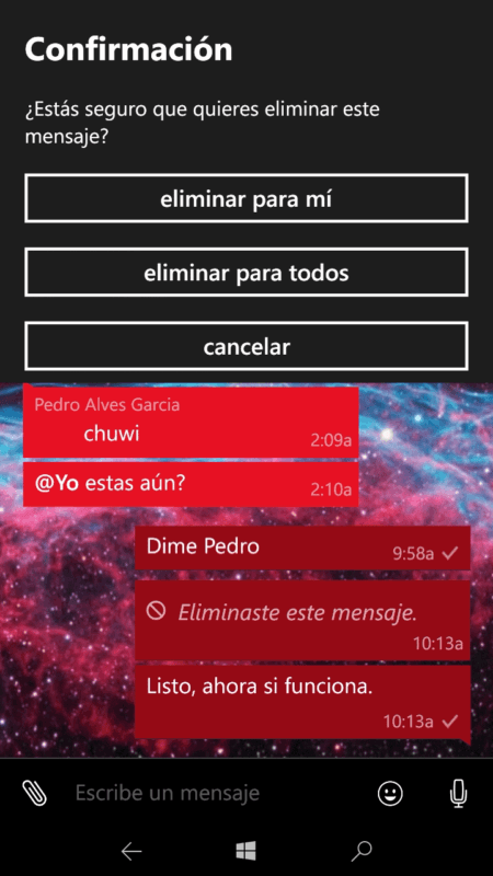 Ya puedes eliminar tus mensajes para todos en WhatsApp para Windows