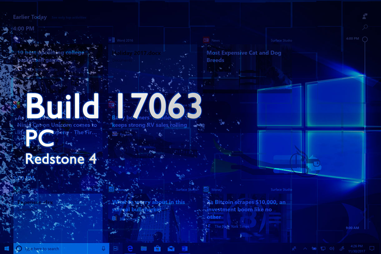 Build 17063 de Windows 10 ya disponible en PC para los Insiders