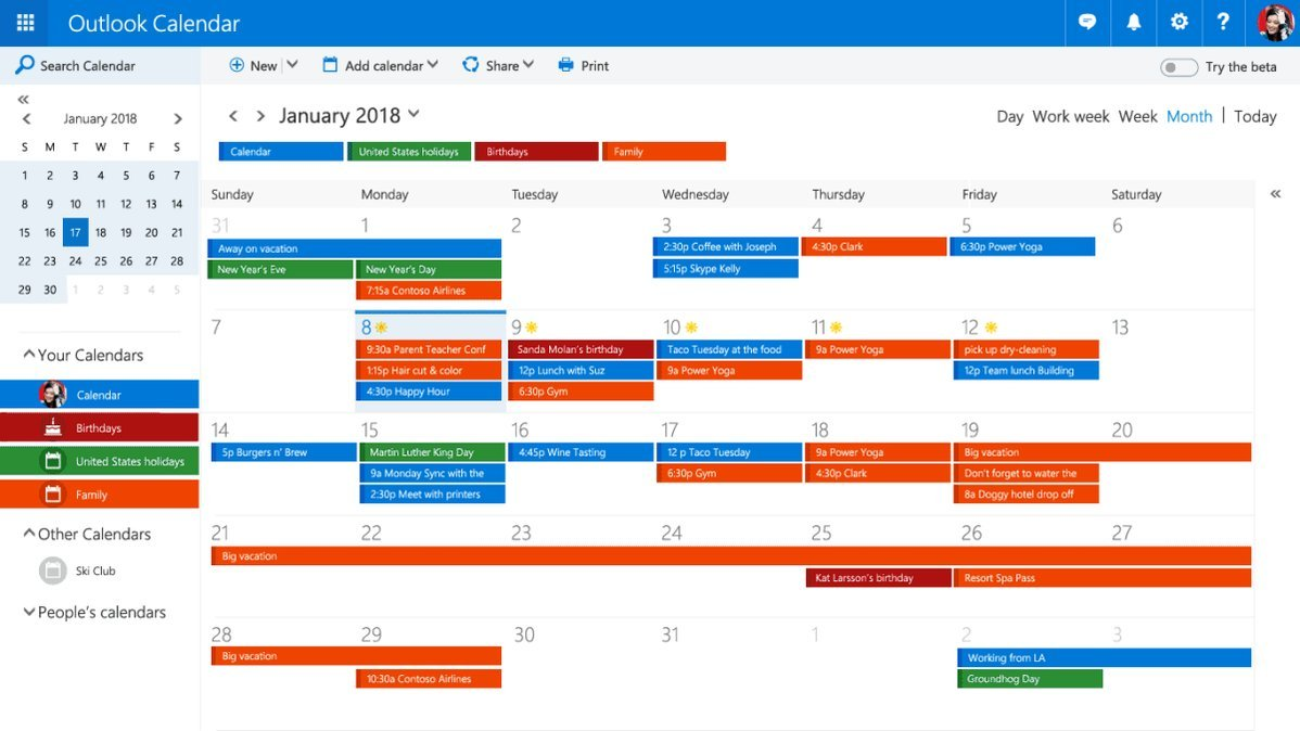 El Calendario se une a la beta de Outlook.com