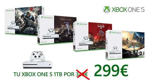 Microsoft rebaja la Xbox One S 1TB y la puedes conseguir desde 299€