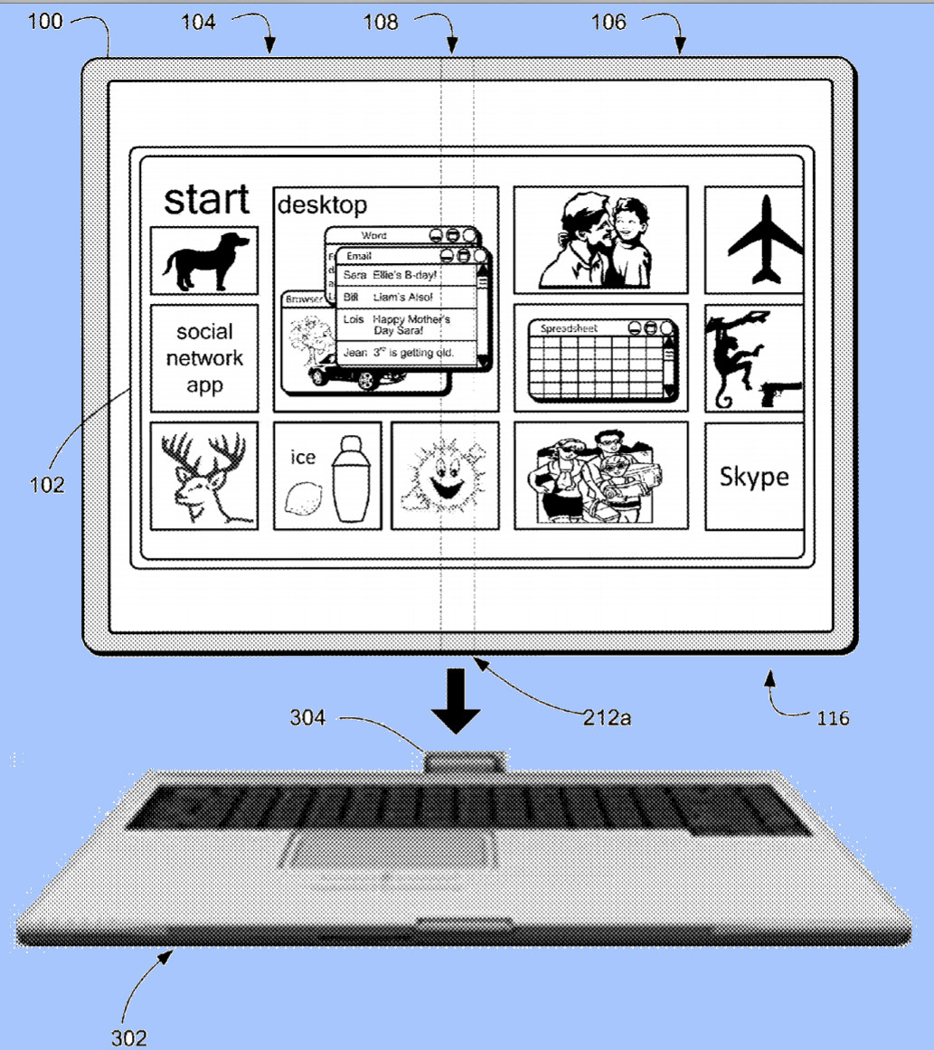 Nueva patente de Microsoft, esta vez para una tablet que se dobla y permite añadir un teclado