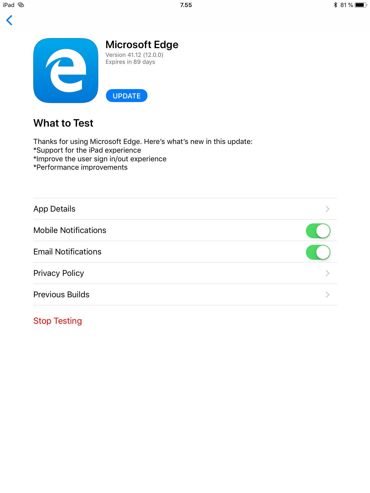 Microsoft Edge Beta se actualiza en iOS añadiendo soporte para iPad