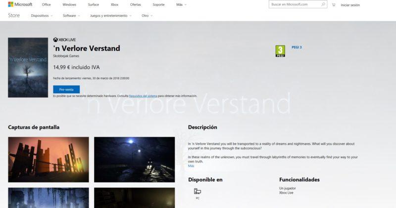 'n Verlore Verstand ya disponible para reserva en Windows 10 PC