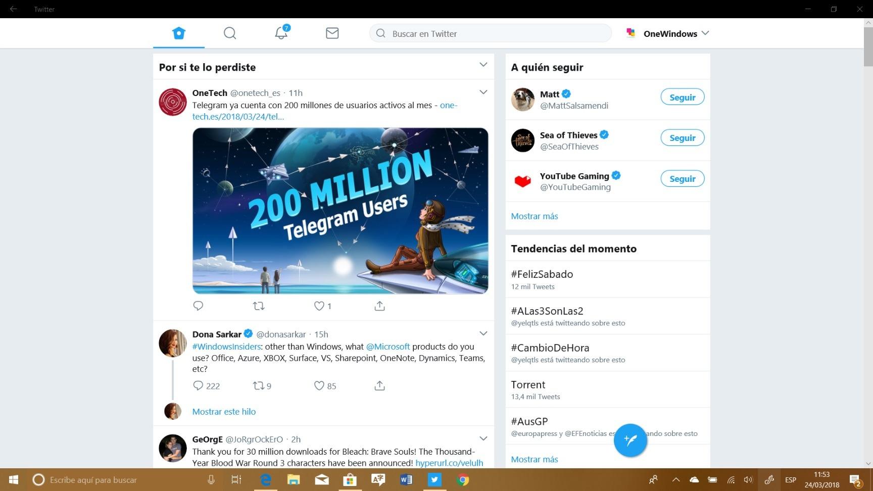 Twitter actualiza su Aplicación Universal para Windows 10 a Aplicación Web Progresiva