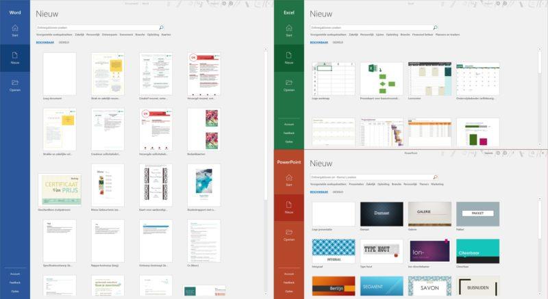 Así sería la nueva interfaz de las aplicaciones de la suite Office 2019