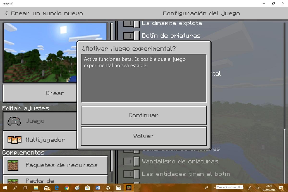 minecraft juego experimental