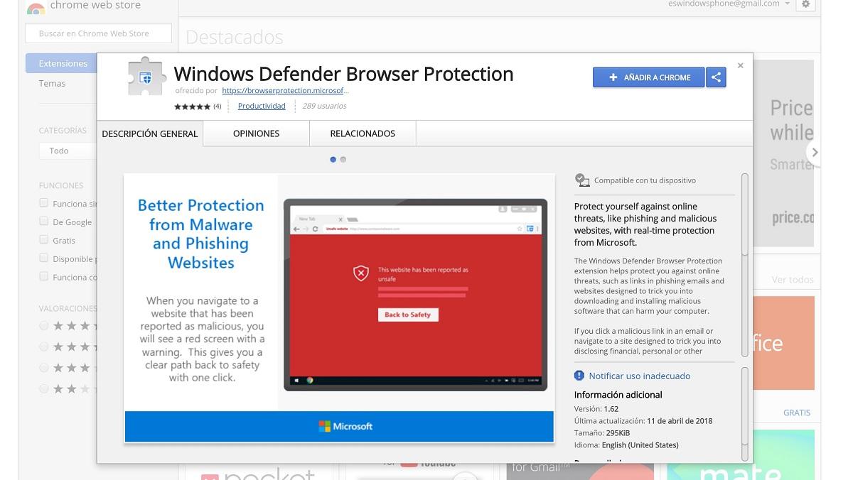 Windows Defender Browser Protection llega a Chrome en forma de extensión