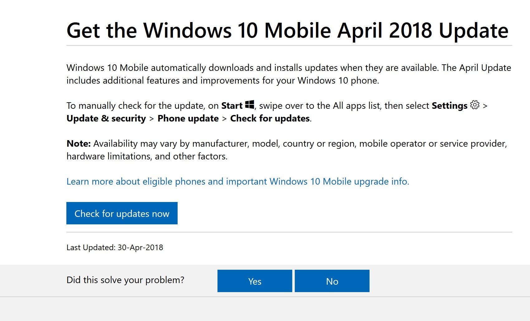 Windows 10 Mobile April 2018 Update