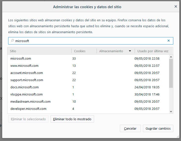 Administración de cookies en Firefox 60