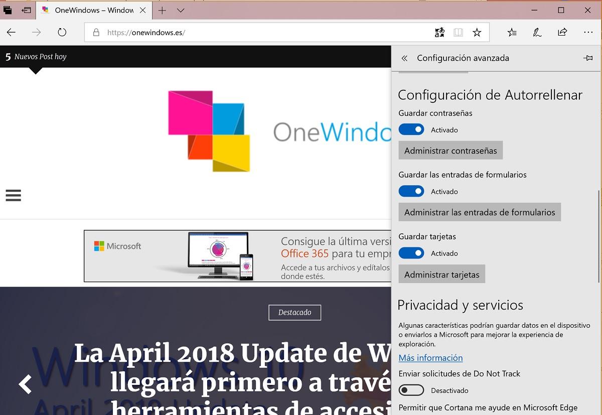 Una navegación mas segura con Microsoft™ Edge en la April 2018 Update