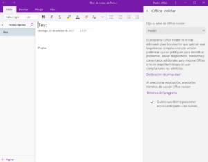 OneNote UWP ya permite unirse a Office Insider desde la aplicación en el anillo rápido