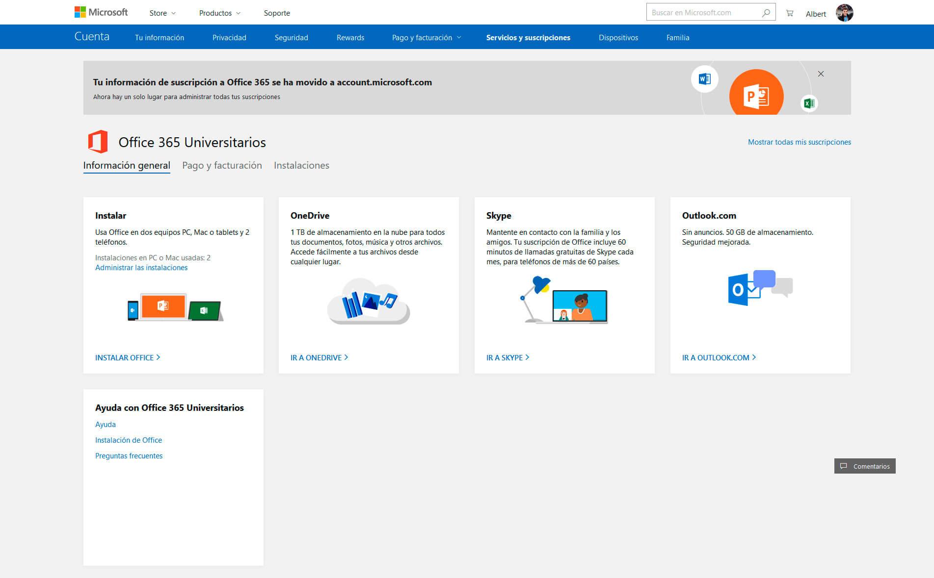 Cuenta de Microsoft - Servicios y suscripciones