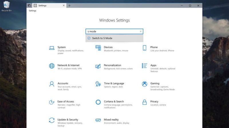 Microsoft trabaja en una opción para cambiar al Modo S de Windows 10 con Redstone 5